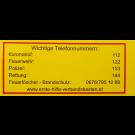 Klebeetikett Notruf-Nummer für Erste-Hilfe-Koffer